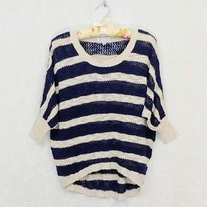 Aphorism Striped Dolman Sleeve High Low Top S